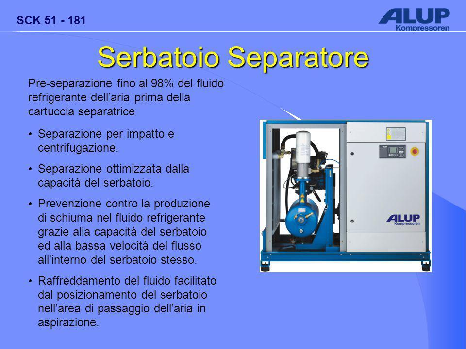 SCK 51 - 181 Serbatoio Separatore Pre-separazione fino al 98% del fluido refrigerante dell'aria prima della cartuccia separatrice Separazione per impatto e centrifugazione.