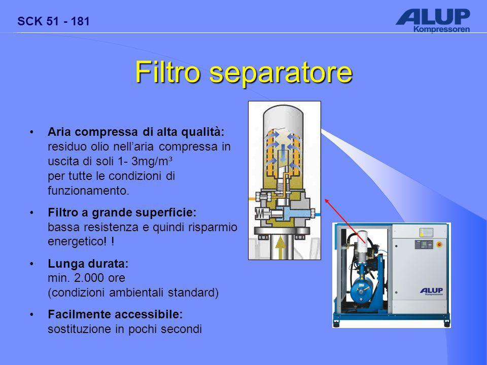 SCK 51 - 181 Filtro separatore Aria compressa di alta qualità: residuo olio nell'aria compressa in uscita di soli 1- 3mg/m³ per tutte le condizioni di funzionamento.