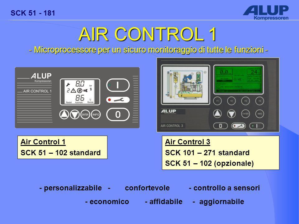 SCK 51 - 181 AIR CONTROL 1 - Microprocessore per un sicuro monitoraggio di tutte le funzioni - Air Control 1 SCK 51 – 102 standard Air Control 3 SCK 101 – 271 standard SCK 51 – 102 (opzionale) - personalizzabile - confortevole- controllo a sensori - economico- affidabile - aggiornabile