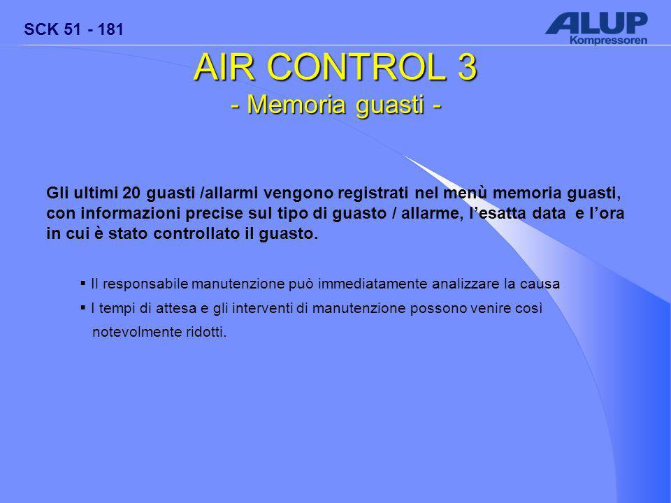SCK 51 - 181 AIR CONTROL 3 - Memoria guasti - Gli ultimi 20 guasti /allarmi vengono registrati nel menù memoria guasti, con informazioni precise sul tipo di guasto / allarme, l'esatta data e l'ora in cui è stato controllato il guasto.
