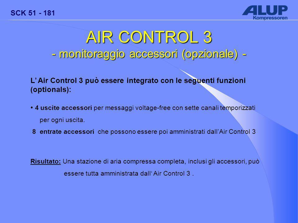 SCK 51 - 181 AIR CONTROL 3 - monitoraggio accessori (opzionale) - L' Air Control 3 può essere integrato con le seguenti funzioni (optionals): 4 uscite accessori per messaggi voltage-free con sette canali temporizzati per ogni uscita.