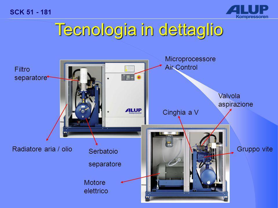 SCK 51 - 181 Tecnologia in dettaglio Radiatore aria / olio Filtro separatore Microprocessore Air Control Valvola aspirazione Serbatoio separatore Gruppo vite Cinghia a V Motore elettrico