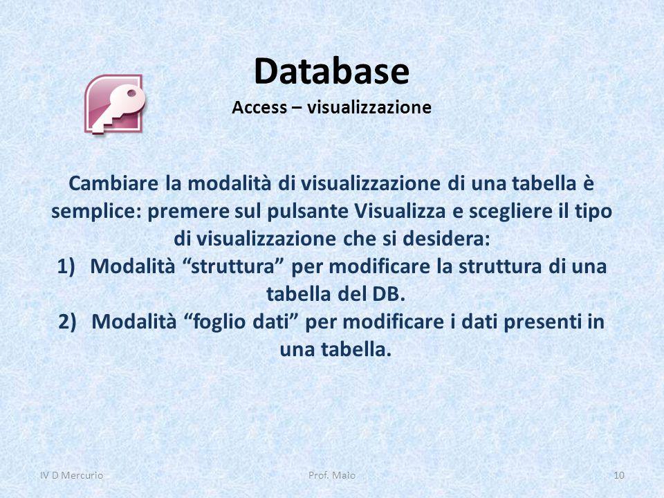 Database Access – visualizzazione Cambiare la modalità di visualizzazione di una tabella è semplice: premere sul pulsante Visualizza e scegliere il ti