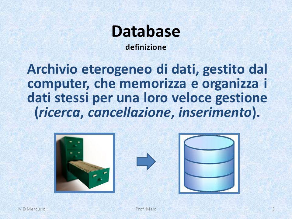 Database definizione Archivio eterogeneo di dati, gestito dal computer, che memorizza e organizza i dati stessi per una loro veloce gestione (ricerca, cancellazione, inserimento).