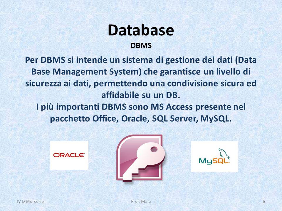Database DBMS Per DBMS si intende un sistema di gestione dei dati (Data Base Management System) che garantisce un livello di sicurezza ai dati, permet