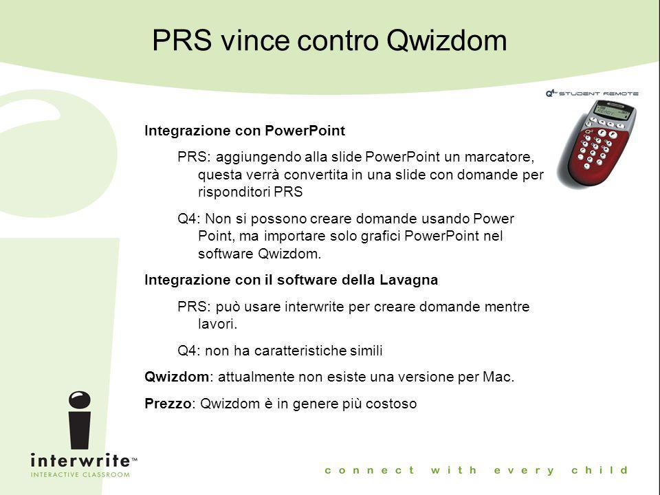 PRS vince contro Qwizdom Integrazione con PowerPoint PRS: aggiungendo alla slide PowerPoint un marcatore, questa verrà convertita in una slide con dom
