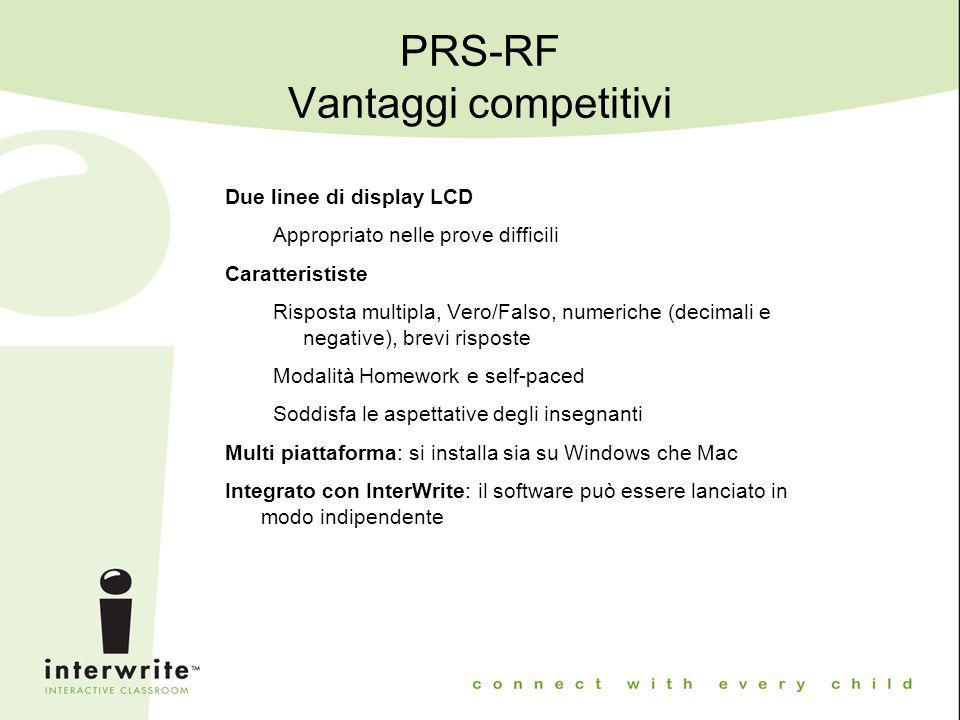 PRS-RF Vantaggi competitivi Due linee di display LCD Appropriato nelle prove difficili Caratterististe Risposta multipla, Vero/Falso, numeriche (decim