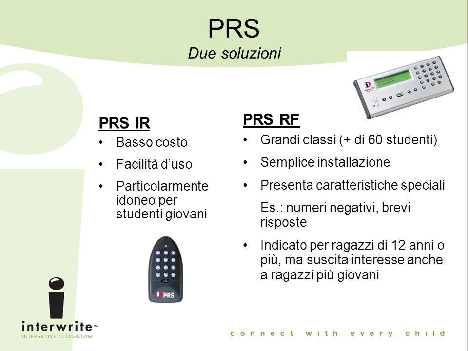 PRS Due soluzioni PRS IR Basso costo Facilità d'uso Particolarmente idoneo per studenti giovani PRS RF Grandi classi (+ di 60 studenti) Semplice insta