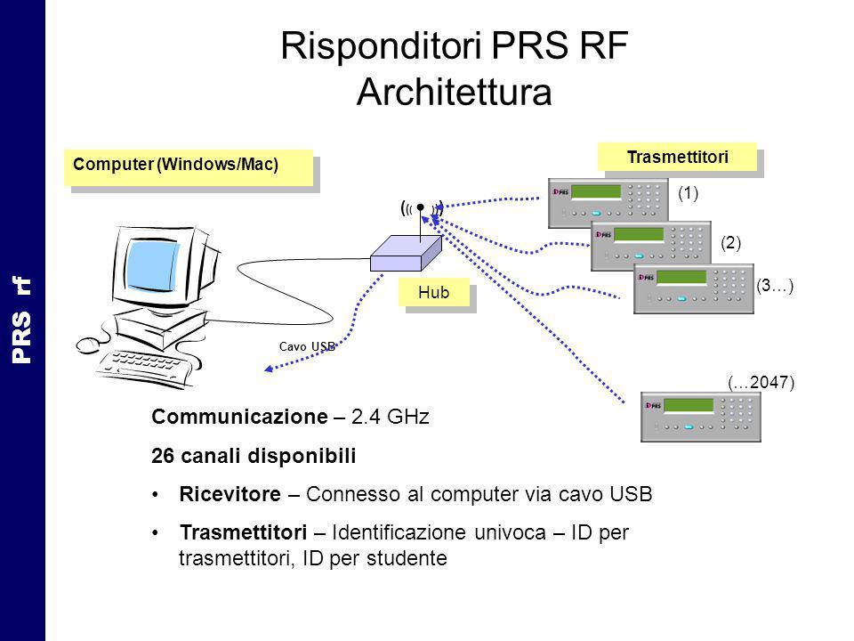 Risponditori PRS RF Architettura Computer (Windows/Mac) Cavo USB (1) (2) (3…) (…2047) ( ( ( ) ) ) Hub Trasmettitori PRS rf Communicazione – 2.4 GHz 26