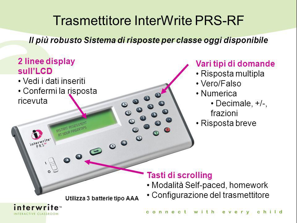 Trasmettitore InterWrite PRS-RF Il più robusto Sistema di risposte per classe oggi disponibile 2 linee display sull'LCD Vedi i dati inseriti Confermi