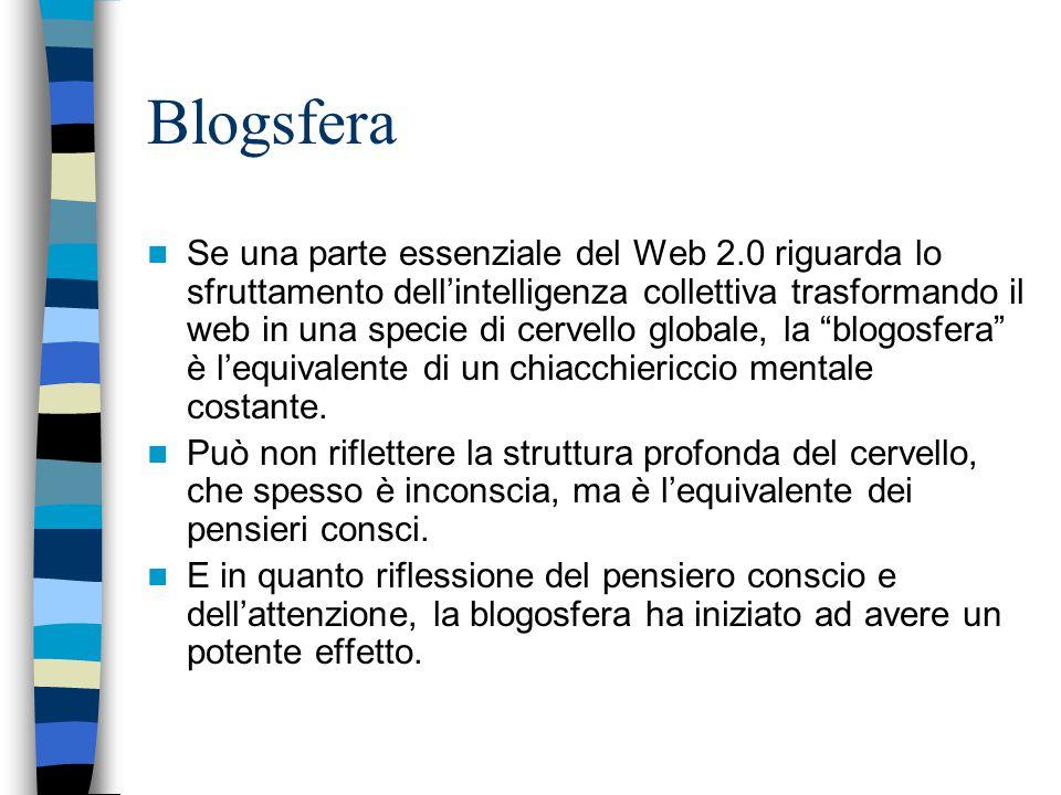 Blogsfera Se una parte essenziale del Web 2.0 riguarda lo sfruttamento dell'intelligenza collettiva trasformando il web in una specie di cervello globale, la blogosfera è l'equivalente di un chiacchiericcio mentale costante.