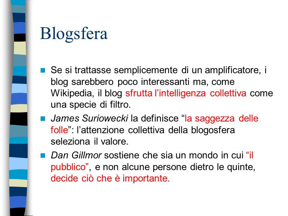 Blogsfera Se si trattasse semplicemente di un amplificatore, i blog sarebbero poco interessanti ma, come Wikipedia, il blog sfrutta l'intelligenza collettiva come una specie di filtro.