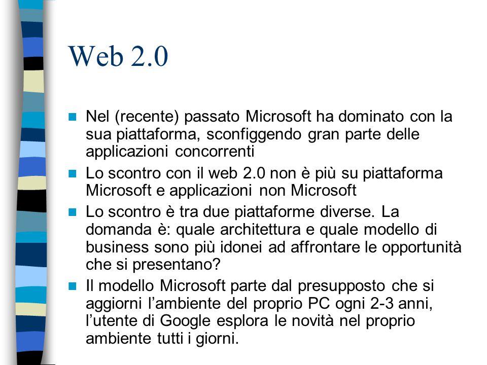 Web 2.0 Nel (recente) passato Microsoft ha dominato con la sua piattaforma, sconfiggendo gran parte delle applicazioni concorrenti Lo scontro con il web 2.0 non è più su piattaforma Microsoft e applicazioni non Microsoft Lo scontro è tra due piattaforme diverse.