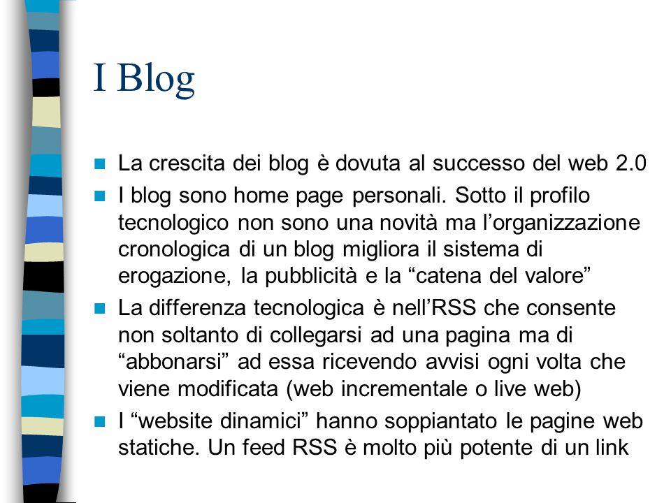 I Blog La crescita dei blog è dovuta al successo del web 2.0 I blog sono home page personali. Sotto il profilo tecnologico non sono una novità ma l'or