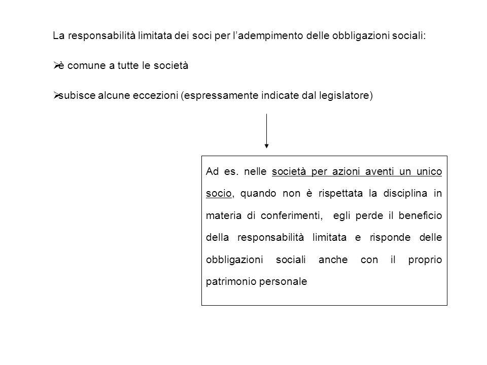 La responsabilità limitata dei soci per l'adempimento delle obbligazioni sociali:  è comune a tutte le società  subisce alcune eccezioni (espressamente indicate dal legislatore) Ad es.