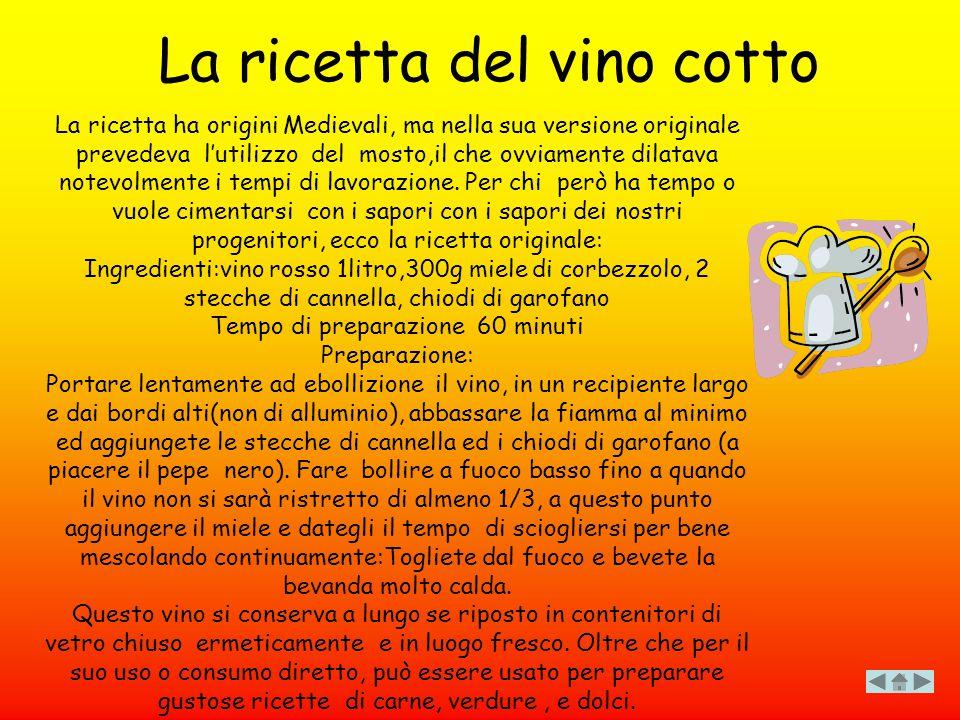 La ricetta del vino cotto La ricetta ha origini Medievali, ma nella sua versione originale prevedeva l'utilizzo del mosto,il che ovviamente dilatava n