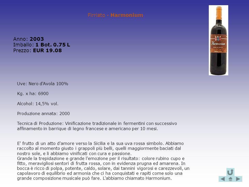 Firriato - Harmonium Anno: 2003 Imballo: 1 Bot. 0.75 L Prezzo: EUR 19.08 Uve: Nero d'Avola 100% Kg. x ha: 6900 Alcohol: 14,5% vol. Produzione annata: