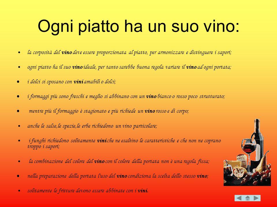 Ogni piatto ha un suo vino: la corposità del vino deve essere proporzionata al piatto, per armonizzare e distinguere i sapori; ogni piatto ha il suo v