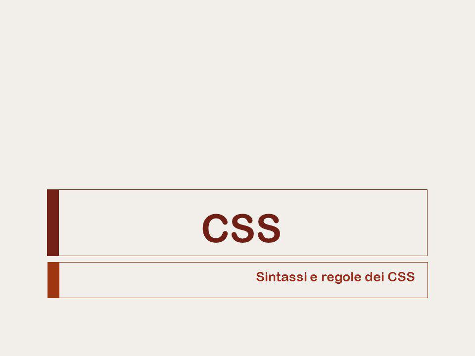 CSS Sintassi e regole dei CSS