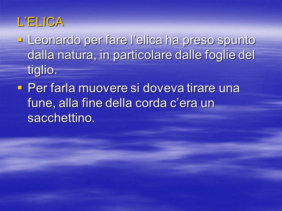 L'ELICA  Leonardo per fare l'elica ha preso spunto dalla natura, in particolare dalle foglie del tiglio.  Per farla muovere si doveva tirare una fun
