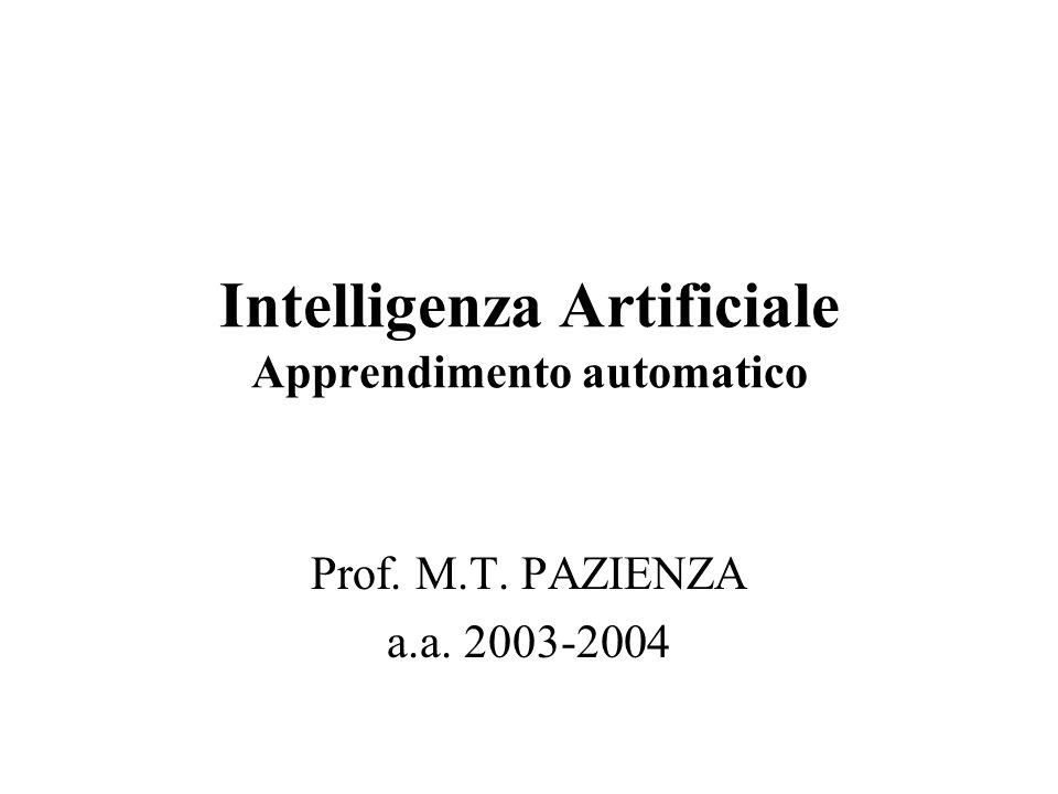 Intelligenza Artificiale Apprendimento automatico Prof. M.T. PAZIENZA a.a. 2003-2004