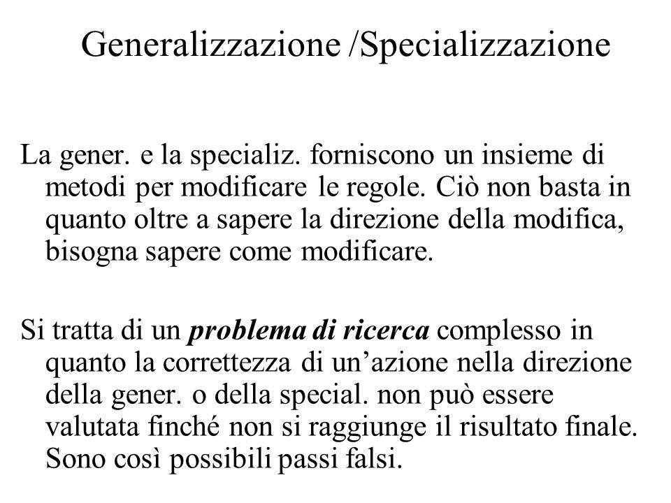 Generalizzazione /Specializzazione La gener. e la specializ. forniscono un insieme di metodi per modificare le regole. Ciò non basta in quanto oltre a
