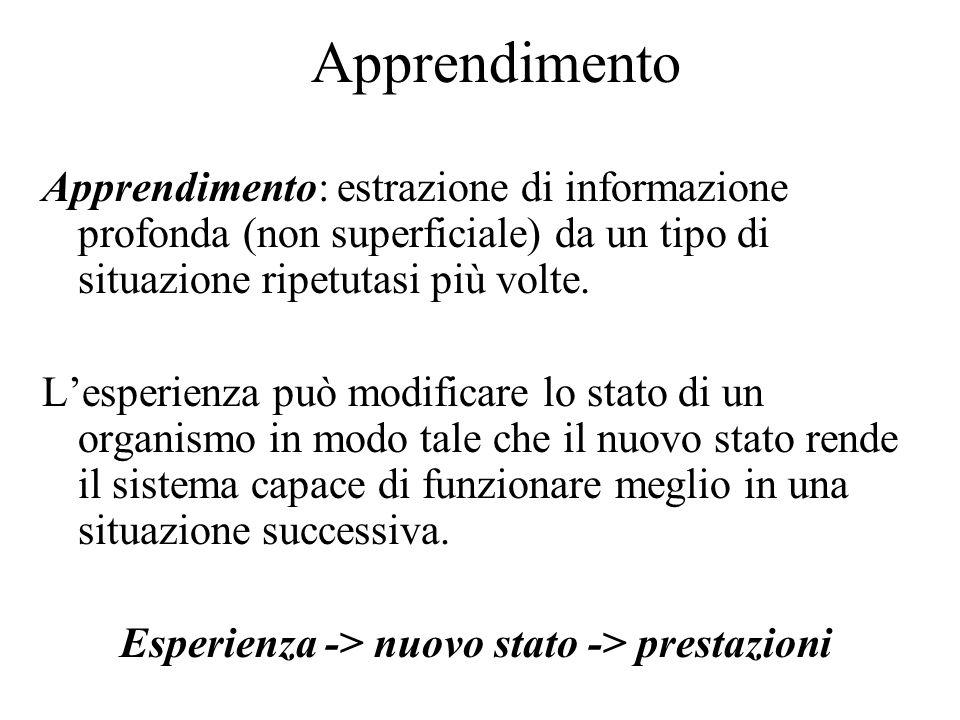 Apprendimento L'esperienza accumulata attraverso le percezioni dell'agente serve per migliorare la capacità del sistema di agire in futuro.