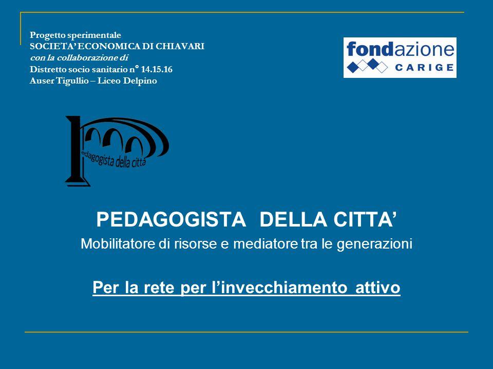 Progetto sperimentale SOCIETA' ECONOMICA DI CHIAVARI con la collaborazione di Distretto socio sanitario n° 14.15.16 Auser Tigullio – Liceo Delpino PED