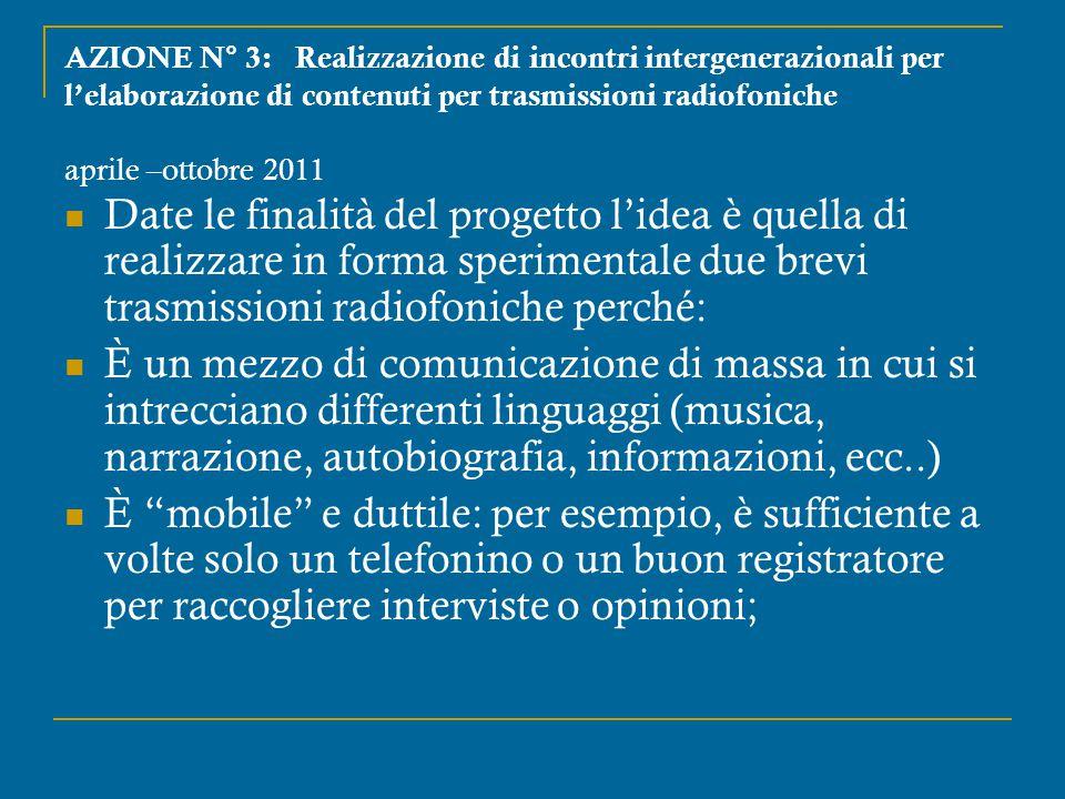 AZIONE N° 3: Realizzazione di incontri intergenerazionali per l'elaborazione di contenuti per trasmissioni radiofoniche aprile –ottobre 2011 Date le f