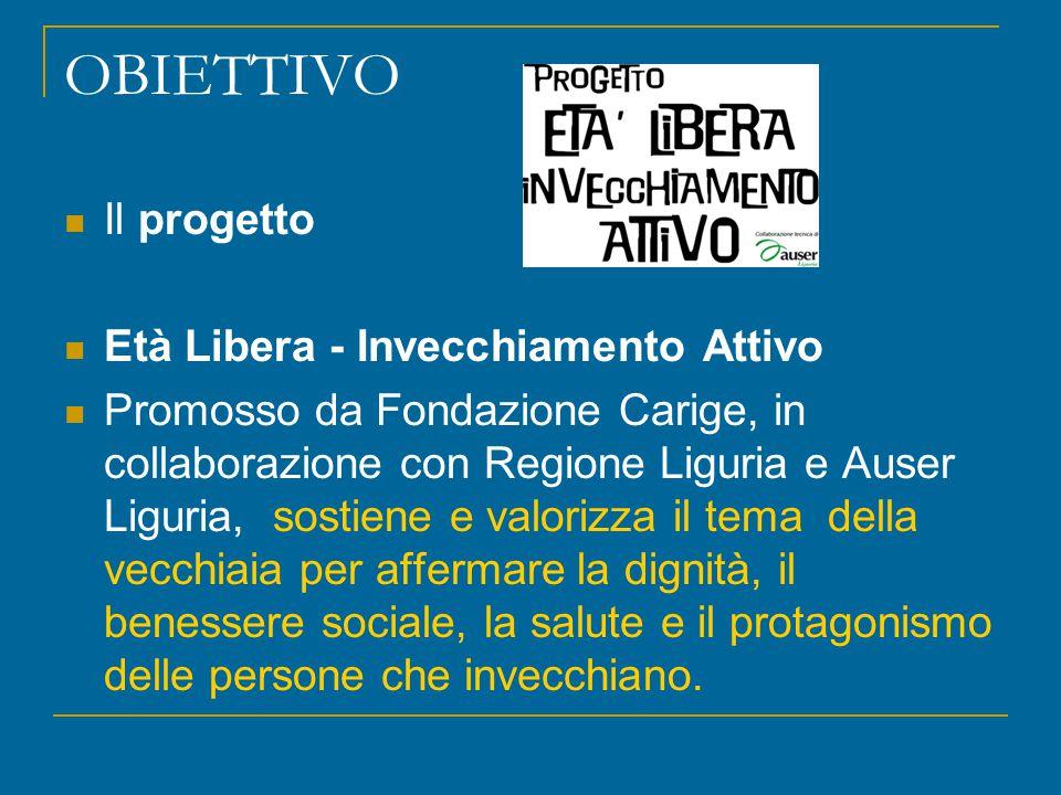 OBIETTIVO Il progetto Età Libera - Invecchiamento Attivo Promosso da Fondazione Carige, in collaborazione con Regione Liguria e Auser Liguria, sostien