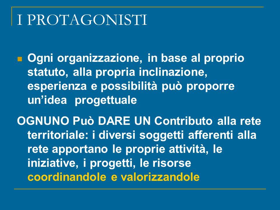 I PROTAGONISTI Ogni organizzazione, in base al proprio statuto, alla propria inclinazione, esperienza e possibilità può proporre un'idea progettuale O