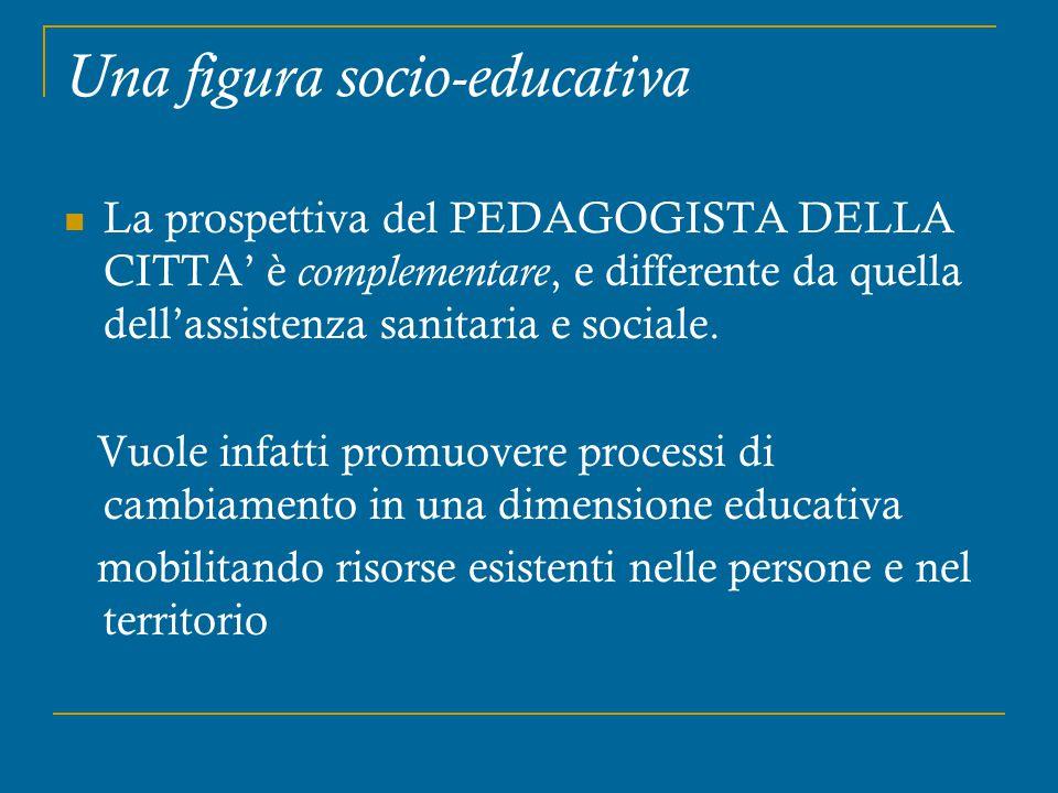 Una figura socio-educativa La prospettiva del PEDAGOGISTA DELLA CITTA' è complementare, e differente da quella dell'assistenza sanitaria e sociale. Vu