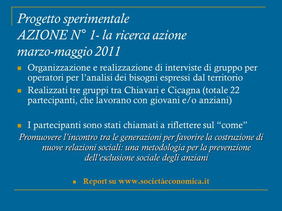Progetto sperimentale AZIONE N° 1- la ricerca azione marzo-maggio 2011 Organizzazione e realizzazione di interviste di gruppo per operatori per l'anal