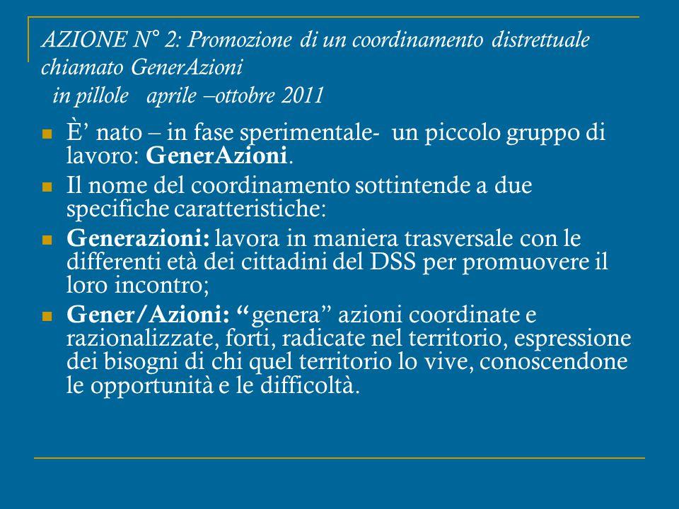 AZIONE N° 2: Promozione di un coordinamento distrettuale chiamato GenerAzioni in pillole aprile –ottobre 2011 È' nato – in fase sperimentale- un picco