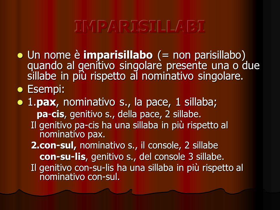 Un nome è imparisillabo (= non parisillabo) quando al genitivo singolare presente una o due sillabe in più rispetto al nominativo singolare.