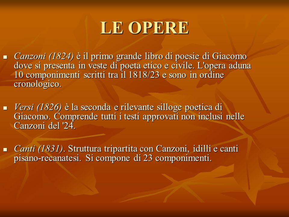 LE OPERE Canzoni (1824) è il primo grande libro di poesie di Giacomo dove si presenta in veste di poeta etico e civile. L'opera aduna 10 componimenti