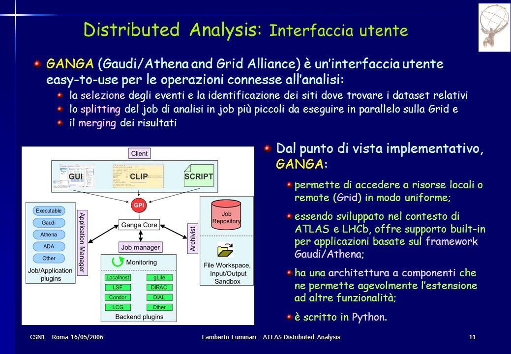 CSN1 - Roma 16/05/2006Lamberto Luminari - ATLAS Distributed Analysis11 Distributed Analysis: Interfaccia utente Dal punto di vista implementativo, GANGA: permette di accedere a risorse locali o remote (Grid) in modo uniforme; essendo sviluppato nel contesto di ATLAS e LHCb, offre supporto built-in per applicazioni basate sul framework Gaudi/Athena; ha una architettura a componenti che ne permette agevolmente l'estensione ad altre funzionalità; è scritto in Python.