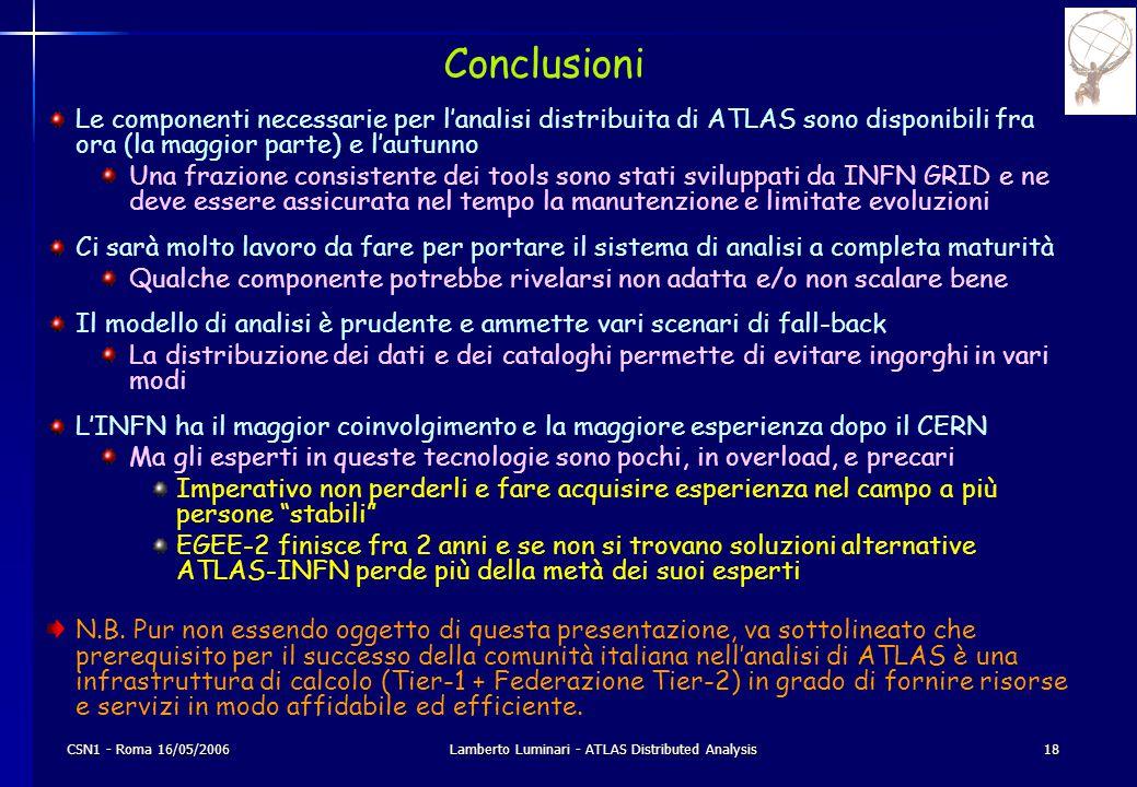 CSN1 - Roma 16/05/2006Lamberto Luminari - ATLAS Distributed Analysis18 Conclusioni Le componenti necessarie per l'analisi distribuita di ATLAS sono disponibili fra ora (la maggior parte) e l'autunno Una frazione consistente dei tools sono stati sviluppati da INFN GRID e ne deve essere assicurata nel tempo la manutenzione e limitate evoluzioni Ci sarà molto lavoro da fare per portare il sistema di analisi a completa maturità Qualche componente potrebbe rivelarsi non adatta e/o non scalare bene Il modello di analisi è prudente e ammette vari scenari di fall-back La distribuzione dei dati e dei cataloghi permette di evitare ingorghi in vari modi L'INFN ha il maggior coinvolgimento e la maggiore esperienza dopo il CERN Ma gli esperti in queste tecnologie sono pochi, in overload, e precari Imperativo non perderli e fare acquisire esperienza nel campo a più persone stabili EGEE-2 finisce fra 2 anni e se non si trovano soluzioni alternative ATLAS-INFN perde più della metà dei suoi esperti N.B.