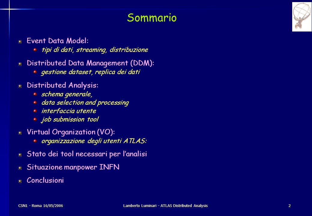CSN1 - Roma 16/05/2006Lamberto Luminari - ATLAS Distributed Analysis3 Event Data Model: Tipi di dati Nelle varie fasi di ricostruzione e analisi ATLAS utilizza diversi tipi di dati: RAW Data: sono i dati in output dal sistema di trigger e acquisizione formato Byte-Stream ~1.6 MB/evento Event Summary Data (ESD): dati prodotti dal processo di ricostruzione (tracce ricostruite e hit relativi, celle e cluster nei calorimetri, combined reconstruction objects etc...) rappresentazione object-oriented (POOL/ROOT) ~0.5 MB/evento (nominale; attualmente > 1.