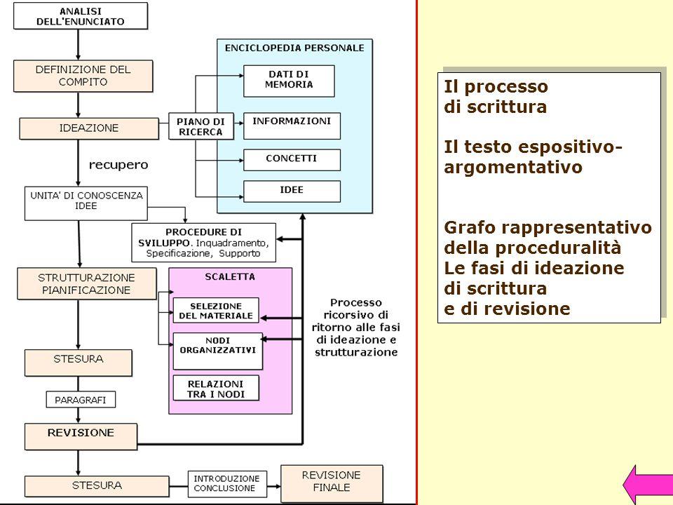 Il processo di scrittura Il testo espositivo- argomentativo Grafo rappresentativo della proceduralità Le fasi di ideazione di scrittura e di revisione