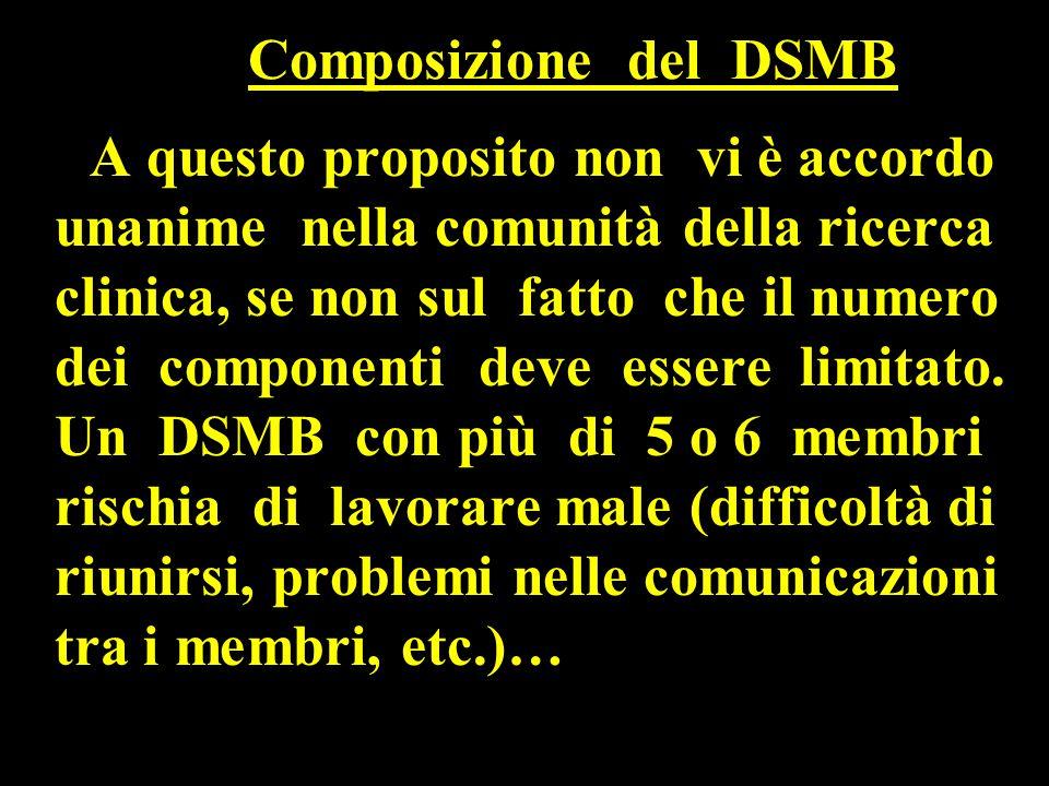 Composizione del DSMB A questo proposito non vi è accordo unanime nella comunità della ricerca clinica, se non sul fatto che il numero dei componenti deve essere limitato.