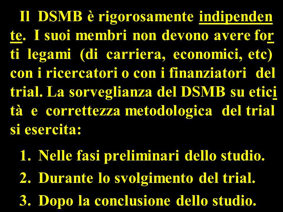 Il DSMB è rigorosamente indipenden te.