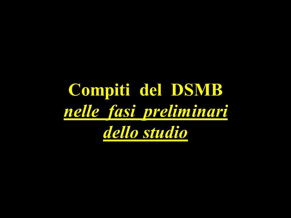 Compiti del DSMB nelle fasi preliminari dello studio