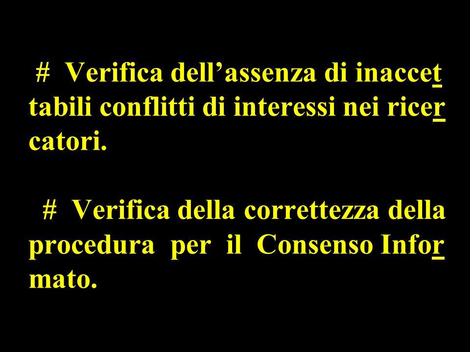 # Verifica dell'assenza di inaccet tabili conflitti di interessi nei ricer catori.