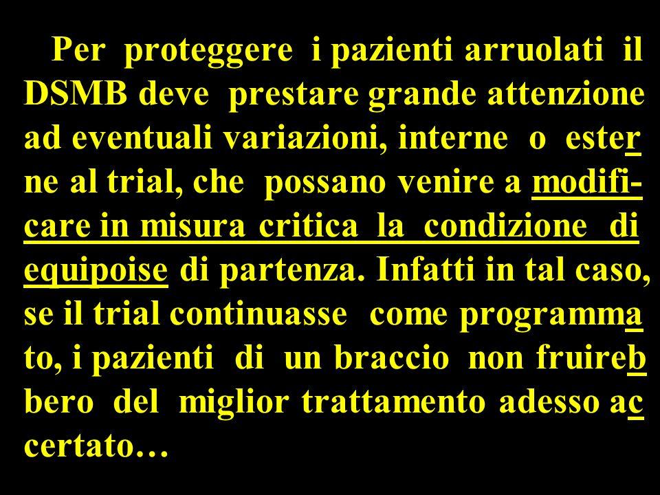 Per proteggere i pazienti arruolati il DSMB deve prestare grande attenzione ad eventuali variazioni, interne o ester ne al trial, che possano venire a modifi- care in misura critica la condizione di equipoise di partenza.