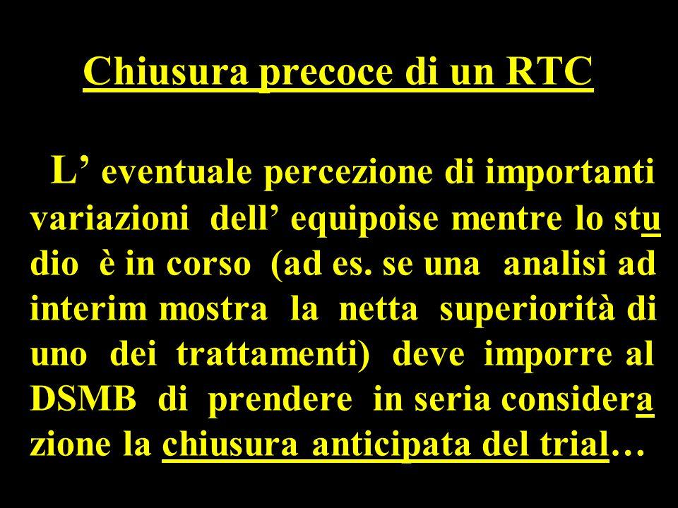Chiusura precoce di un RTC L' eventuale percezione di importanti variazioni dell' equipoise mentre lo stu dio è in corso (ad es.