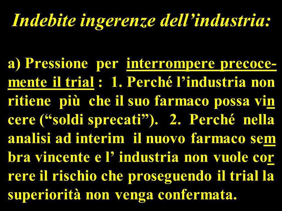Indebite ingerenze dell'industria: a) Pressione per interrompere precoce- mente il trial : 1.