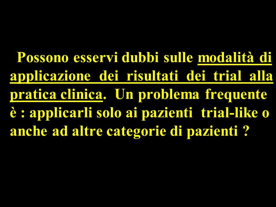 Possono esservi dubbi sulle modalità di applicazione dei risultati dei trial alla pratica clinica.