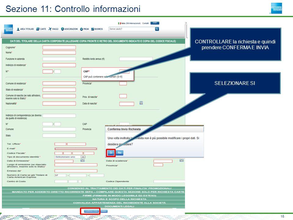 Sezione 11: Controllo informazioni 15 CONTROLLARE la richiesta e quindi prendere CONFERMA E INVIA SELEZIONARE SI