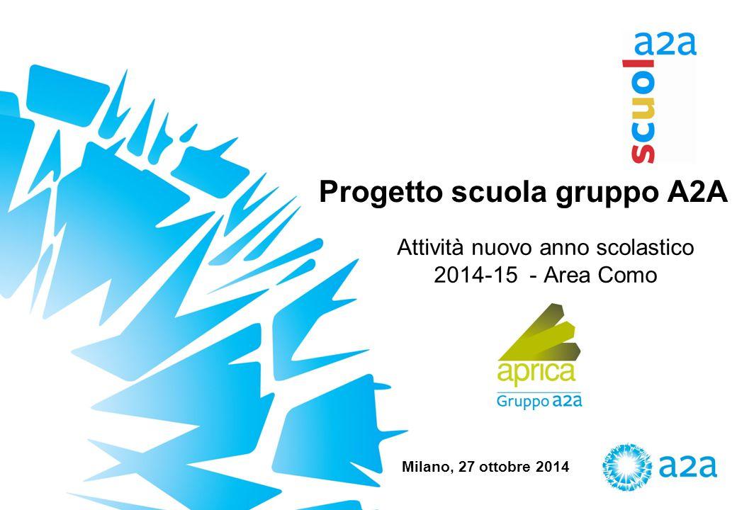 Progetto scuola gruppo A2A Attività nuovo anno scolastico 2014-15 - Area Como Milano, 27 ottobre 2014